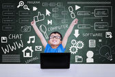 Boy winning computer science competition using laptop in class — Stock Photo