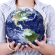 Stock Photo: Close-up of earth in woman's hands