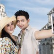 Asian couple travel and take picture at Rome — Stock Photo
