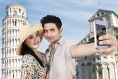 Asian couple travel and take picture at Rome — Zdjęcie stockowe
