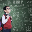 Asian nerd boy with backpack in class — Stock Photo