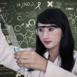 Beautiful scientist analysing liquid at workplace — Stock Photo #26731731