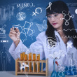 Beautiful scientist drawing formulat lab — Stock Photo #26731883