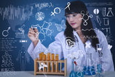 Beautiful scientist drawing formula at lab — Stock Photo
