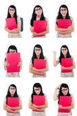 Asian female student multi pose on white — Stock Photo
