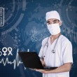 Doctor holding laptop on digital background — Lizenzfreies Foto