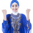 Happy female muslim in blue dress - isolated — Stock Photo