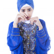 Crying female muslim in blue dress - isolated — Photo