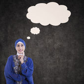 Asian female muslim thinking with blank cloud — 图库照片