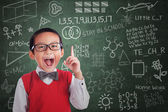 Asian boy student has idea in class — Foto Stock