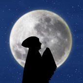 Female muslim praying under blue moon — Stock Photo