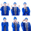 Asian female muslim multi expressions on white — Stock Photo #27955579