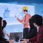 arquitecto edificio presentación en azul digital — Foto de Stock