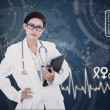 Stock Photo: Confident female doctor on digital background