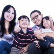 Happy family give thumbs up - isolated — Stock Photo
