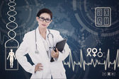 Confident female doctor on digital background — Stock Photo