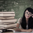 Beautiful female nerd student study in class — Stock Photo