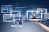 Detail ruky prezentace digitálních fotografií po celém světě — Stock fotografie