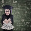 Asian female graduate giving money in class — Stock Photo