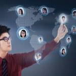 Businessman connect on digital team network — Stock Photo