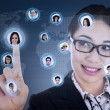 Businesswoman connect to digital network — Stockfoto