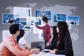 Prezentacja firmy za pomocą futurystyczny interfejs — Zdjęcie stockowe