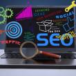 SEO internet concept on laptop — Stock Photo