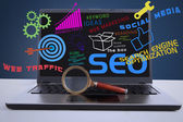 SEO internet concept on laptop — Stock Photo