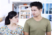 Angry couple close-up at home — Stock Photo