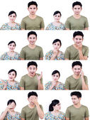 Asian couple multi expression isolated on white — Stock Photo