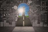 Business marketing succes strategie doodle en pijl ondertekenen — Stockfoto