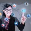 Businesswoman click on social media — Stock Photo #30228711