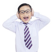 Shock business kid shouting on white — Stock Photo