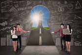 Business team present success road on blackboard in class — Stock Photo