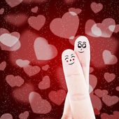 Finger couple on red background — Stock Photo