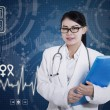 Beautiful female doctor holding folder on digital background — Foto Stock