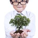 malý chlapec s rostlinou v rukou — Stock fotografie