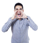 Young businessman shouting — Stock Photo