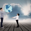 A Father giving the earth to his son — Stock Photo