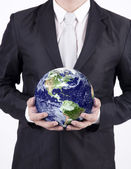Close-up businessman hold globe - isolated — Stock Photo