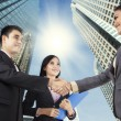 Business people congratulating for the new partnership — Stock Photo #32921129