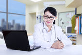 Beautiful doctor in the clinic — Stock Photo