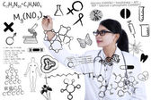 Scientist writes formula — Stock Photo