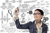 Businesswoman writing success concept — Stock Photo