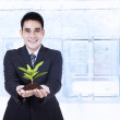Smiling businessman holding a plant — Stock Photo