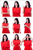 Woman with different expressions — Stock Photo