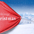 Asian businesswoman pull christmas banner — Stock Photo