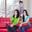 Young people drink champagne — Stock Photo #35029091