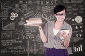 Businesswoman using electronic tab — Stock Photo