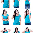 Young woman showing several expressions — Stock Photo